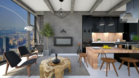 With a rooftop garden - Modern - Living room - by Leyvna