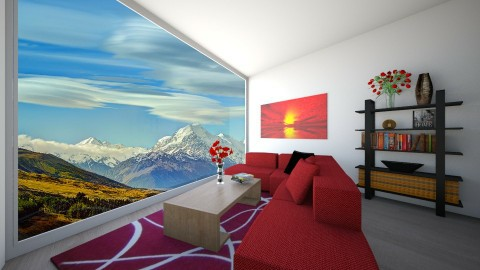 Red Living Room - Modern - Living room - by aaron97