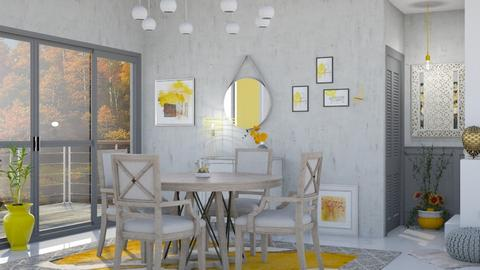 M_Gray with yellow - Dining room - by milyca8