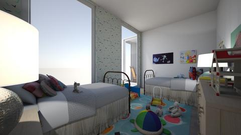 Kids Room Elle and Ethan - Retro - Bedroom - by Angel122