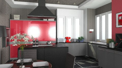 modern kitchen with stripes. - Modern - Kitchen - by KittiFarkas
