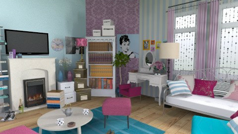 purple and blue - Vintage - Living room - by zoranaNS