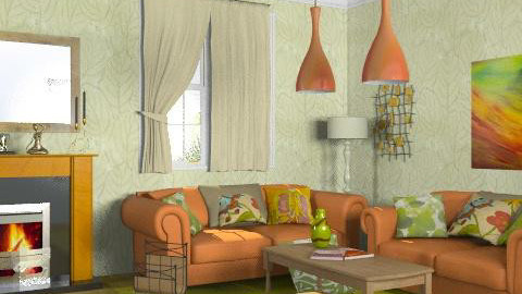 Orange and kiwi - Glamour - Living room - by Laurika