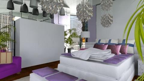 Purple bedroom 004 - Glamour - Bedroom - by bisertanya
