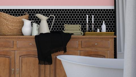 Pink and Black Bath - Minimal - Bathroom - by HenkRetro1960
