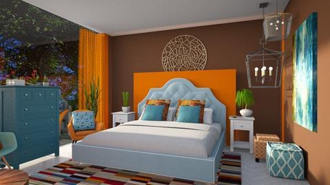 Orange Blue Bedroom - Bedroom - by Vlad Silviu