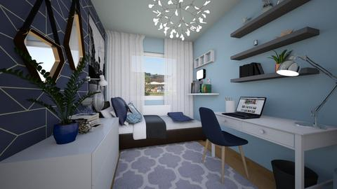 Blue student bedroom - Bedroom - by sf_wrts