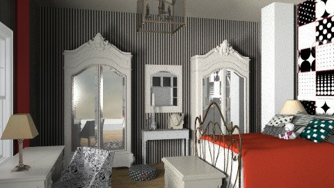 black-red dots - Classic - Bedroom - by chania