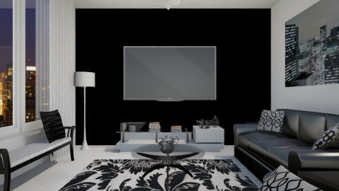 Black and White Elegance - Glamour - Living room - by RedVelvet21