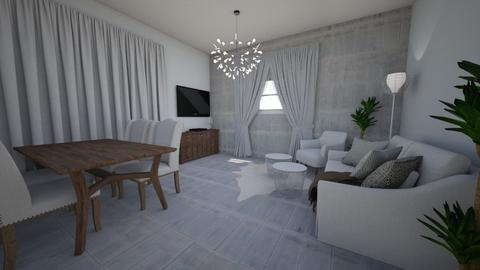Brown gray living room - Living room - by DomiMat