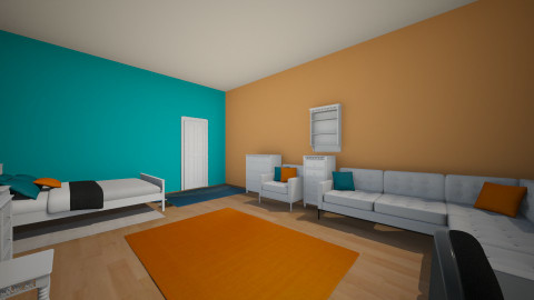 Orange Teal Madness - Bedroom - by samibrown