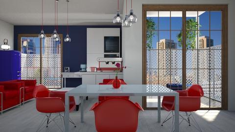 blue dining - Dining room - by ClaraBart