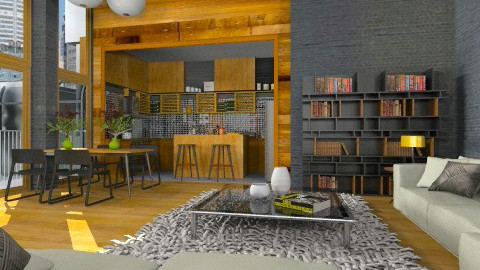 Black and wood apt - Modern - Kitchen - by liling