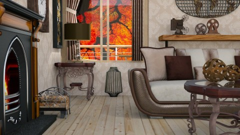 wooden caramel - Vintage - Living room - by Moonpearl