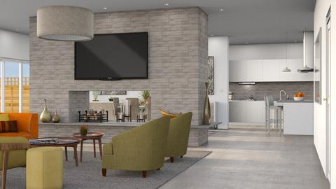 Central Fireplace - Living room - by GraceKathryn