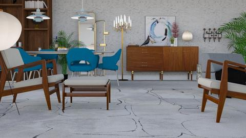 Mid Century Blue - Vintage - Living room - by HenkRetro1960
