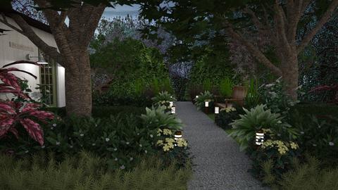 Green Garden at Night - Garden - by GraceKathryn