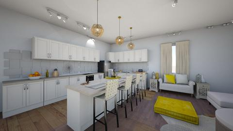 Yellow Interior Kitchen - by maddiedelong333