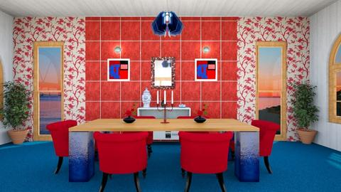 blue and red dining  - Modern - Dining room - by zayneb_17