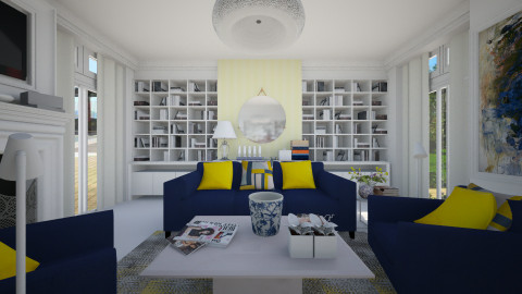 Deep Blue and Yellow - Living room - by annasig