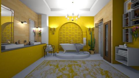 yellow bathroom - by Themis Aline Calcavecchia