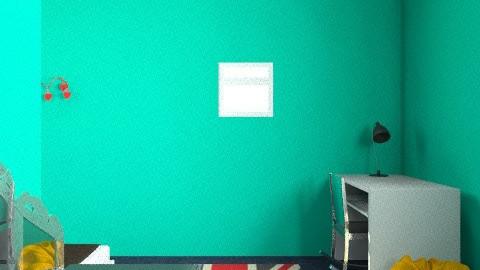 British Blue Green Room - Retro - Bedroom - by woahpepp