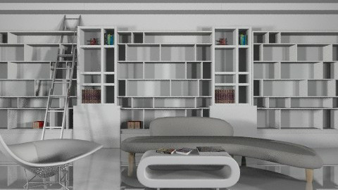 White Library - Minimal - Living room - by yourjieee