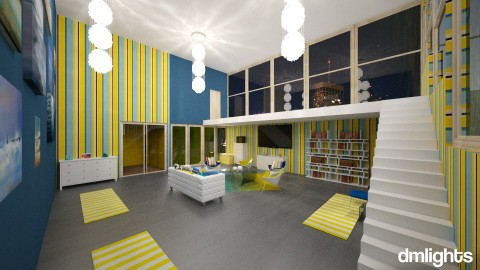 BlueYellowWhite - Living room - by DMLights-user-1054369