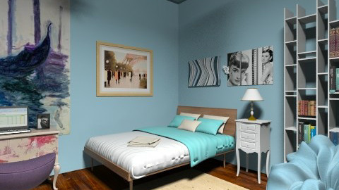 blue bedroom - Modern - Bedroom - by ninikunebi