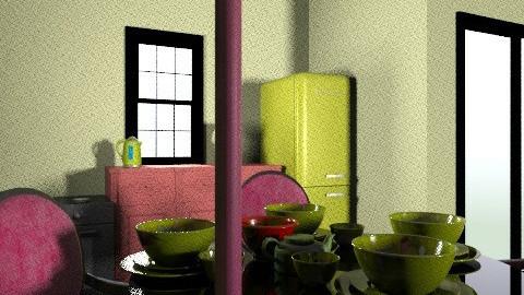pink and green - Retro - Kitchen - by hugibugi