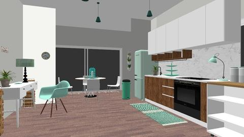 seafoam green - Modern - Kitchen - by NEVERQUITDESIGNIT