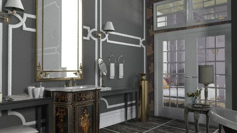 Black master bathroom - Bathroom - by KatjaHM