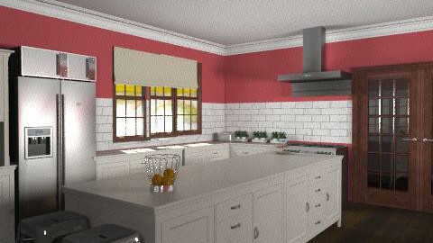 Deep Red Country Kitchen - Country - Kitchen - by Carliam