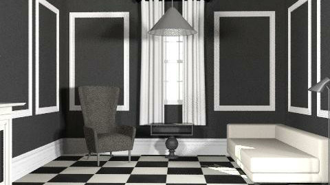Black and White - Minimal - Living room - by The_Hunter_and_Gatherer