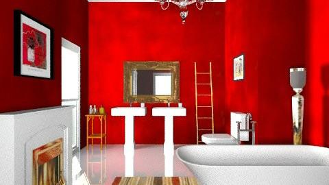 red - Glamour - Bathroom - by mrschicken
