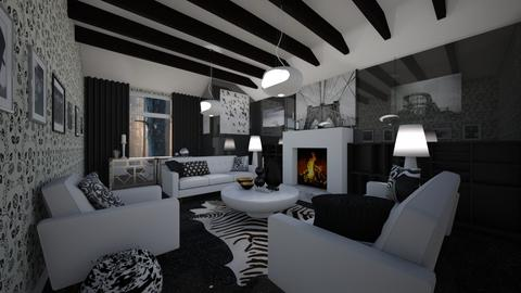 Black and White LR - Living room - by LooseThreads