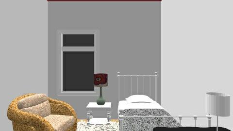 red bedroom - Bedroom - by Yellow Moon Design