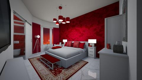red and white  - Modern - Bedroom - by MSK