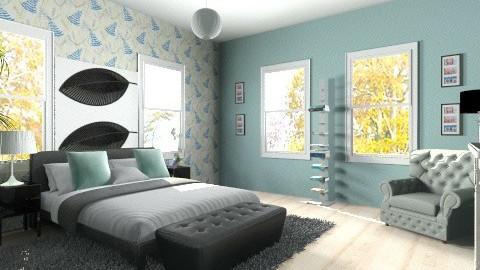 Teal_grey - Minimal - Bedroom - by shelbyboyko
