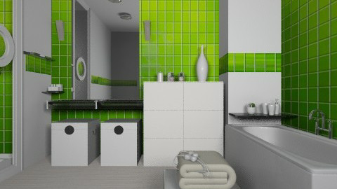 Lime bathroom - Modern - Bathroom - by liling