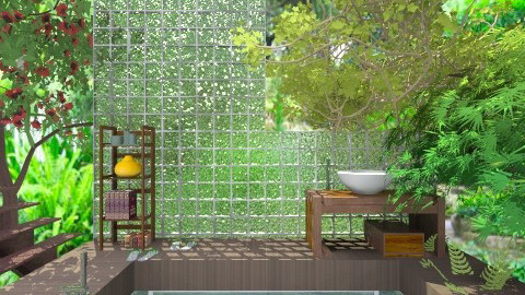 green outdoor bath - Bathroom - by Ariadne491