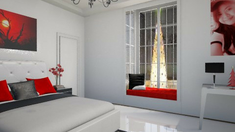 for tel black red white - Bedroom - by Patricia Mari Rosario