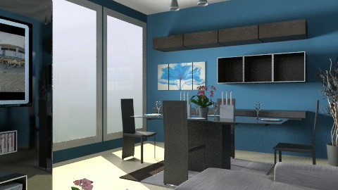 blue living and dining - Living room - by smw0196