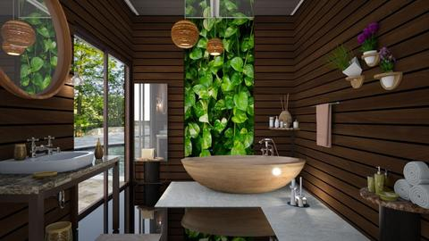 M_Wood and marble - Bathroom - by milyca8