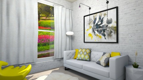 Touches Of Yellow - Modern - Living room - by hollyhough549