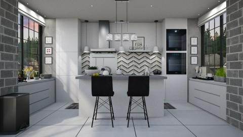 Monochrome Symmetrical - Kitchen - by meggle