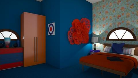 Orange and blue bedroom 2 - Bedroom - by Perpetto