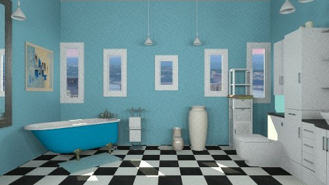 Blue Bath - Retro - Bathroom - by HGranger2