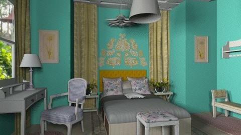 blue-yellow girl - Feminine - Bedroom - by saraashun3