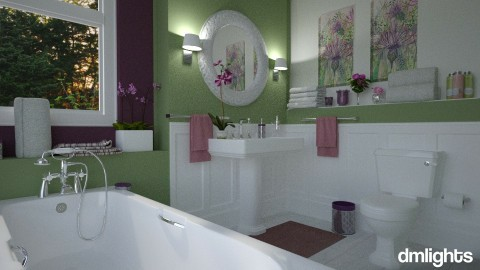 green and purple bathroom - by rrogers45